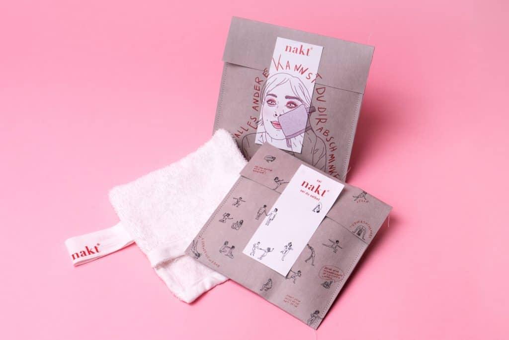 Verpackungen3Stueck nakt® Abschminktuch Nachhalitgkeit Crowdfunding
